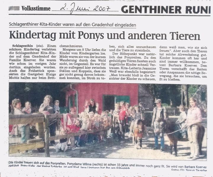 """""""Genthiner Rundschau"""" vom 2. Juni 2007"""