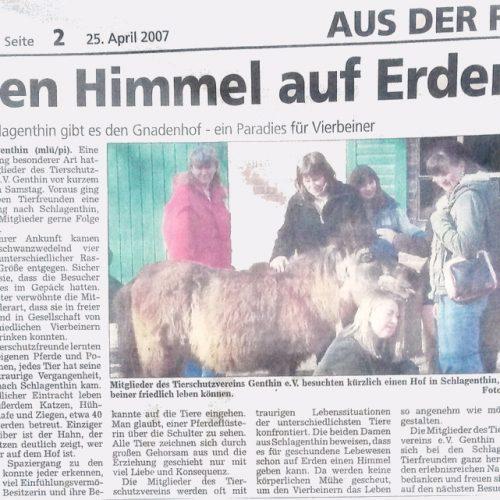 Genthiner Rundschau vom 25. April 2007